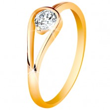 14K gold ring with narrow shiny shoulders, clear zircon in loop