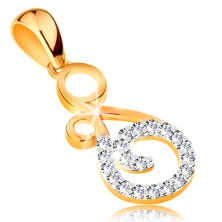 Pendant made of 14K gold - ornament with twisted line composed of clear zircons
