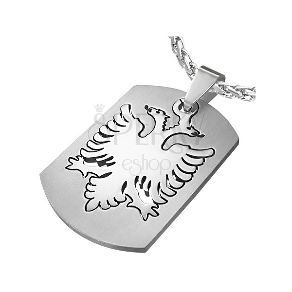 Two-headed eagle dog tag - stainless steel