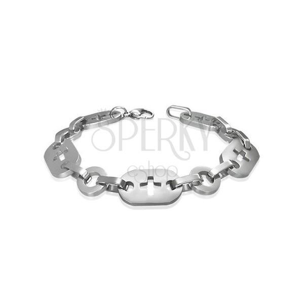 Stainless steel bracelet, rings, crosses