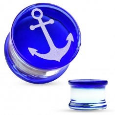 Saddle ear plug made of pyrex glass, white anchor on blue surface