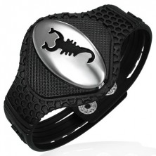 Rubber bracelet - scorpion on oval tag