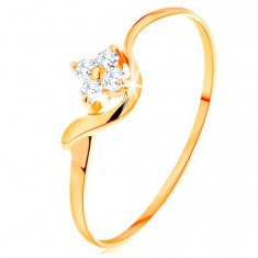 Ring made of yellow 14K gold - flower of clear diamonds, wavy arm