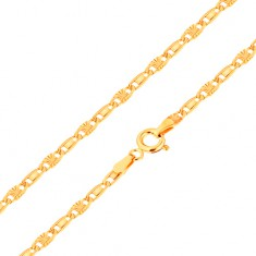 Chain made of yellow 14K gold, smooth and radial link, 450 mm