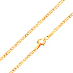 Chain made of yellow 14K gold - oval and elongated links, oblong, 440 mm