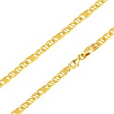 Yellow gold chain 14K, oval eyelets with pin, link with grid, 550 mm
