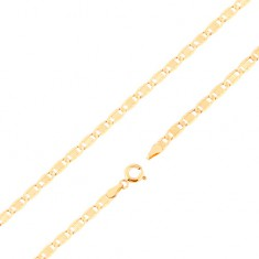 Chain made of yellow 14K gold - larger flat links, notches, oblong, 500 mm