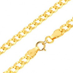 585 gold bracelet - oval links decorated with tiny hollows, 200 mm