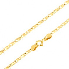 bracelet made of yellow 14k gold elongated links shiny oblong 200 mm
