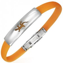 Flat bangle made of rubber - lizard, orange colour