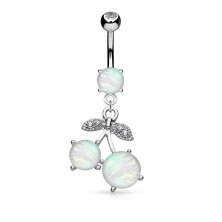 Bellybutton piercing made of surgical steel, cherries with synthetic opal and zircon