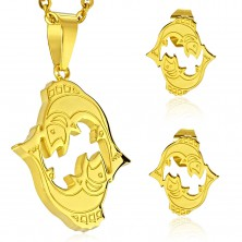 Set made of 316L steel in gold colour - pendant and earrings, zodiac sign PISCES