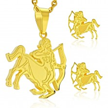Steel set in gold colour, earrings and pendant, zodiac sign SAGITTARIUS