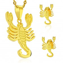 Set made of 316L steel in gold colour - pendant and earrings, zodiac sign SCORPIO