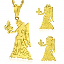 Set made of surgical steel in gold colour, pendant and earrings, zodiac sign VIRGO