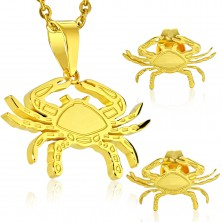 Set of pendant and earrings made of 316L steel in gold colour, zodiac sign CANCER