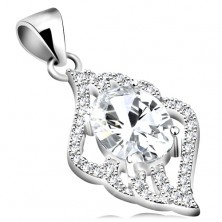 925 silver pendant, clear zircon oval, leaf, clear wavy contours