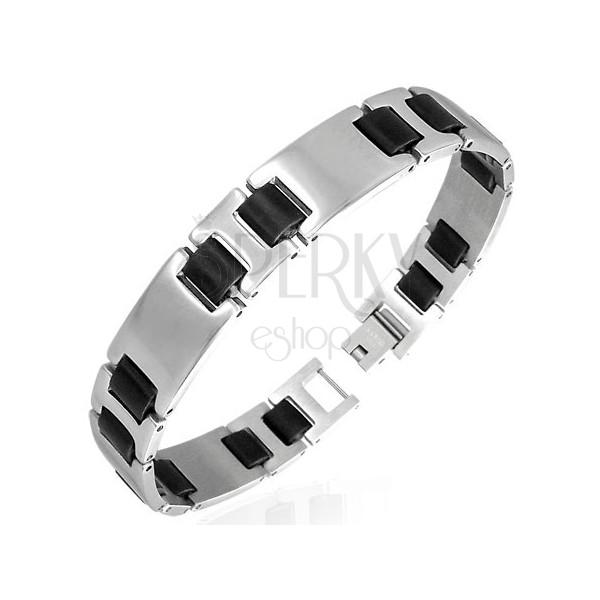 Steel bracelet, smooth links, silver and black