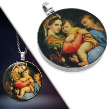 Pendant made of 316L steel - round picture of Holy Mary with child in her arms