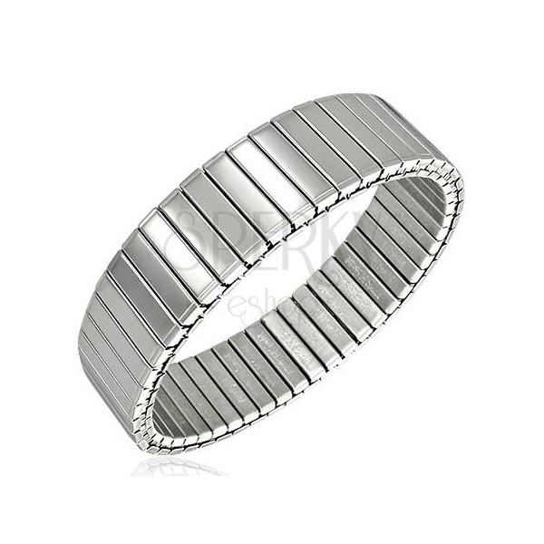 Flexible steel bracelet with smooth links