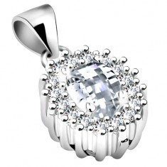 Pendant made of 925 silver, clear zircon oval with glossy contour, rhodium plated