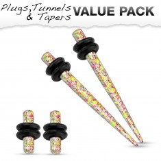 Set of four steel ear piercings, yellow, pink and white colour