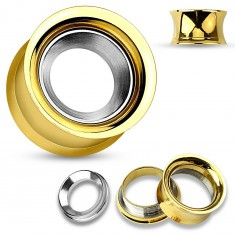 Steel ear tunnel in gold colour with circle in silver hue, high gloss