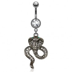 Bellybutton piercing made of surgical steel in dark gray colour, cobra with green eyes