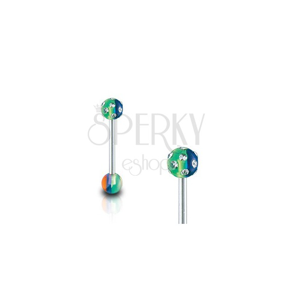 Tongue barbell - multicoloured with zircons