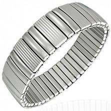 Steel bracelet - smooth and engraved links