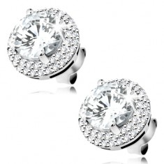 925 silver earrings, round zircon in clear colour, glossy border, studs