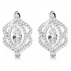 Earrings made of 925 silver, lustrous clear zircon grain, double border