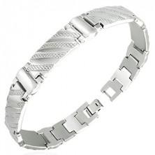 Steel bracelet in watch style - diagonal stripes