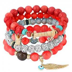 Multibracelet made of beads in red, white and coral colours, pendants
