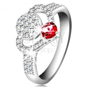 925 silver ring, clear zircon heart contour, circle and glistening pink zircon