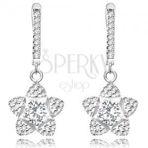 925 silver earrings, glossy flower composed of transparent round zircons