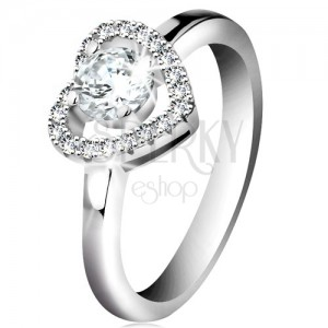 Rhodium plated ring, 925 silver, sparkly heart contour and round zircon in clear colour