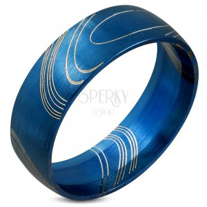 Blue ring made of surgical steel, matt surface with thin lines, 8 mm