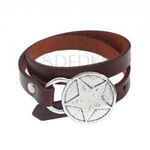 Bracelet made of artificial leather in brown colour for double wrapping around the wrist, star