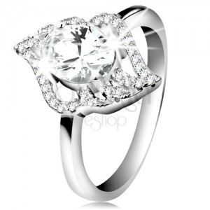 925 silver ring, contour of clear leaf with big oval zircon