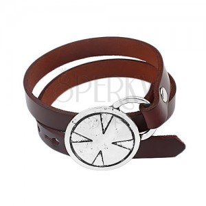 Brown leatherette bracelet for wrapping around wrist, Maltese cross in circle