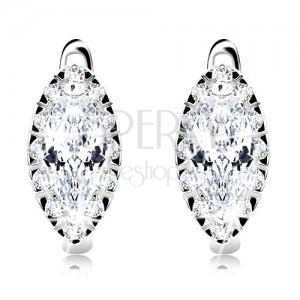 925 silver earrings, clear grain zircon with glistening border, rhodium plated