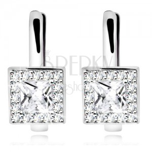 Rhodium plated earrings, 925 silver, clear square zircon with glossy border