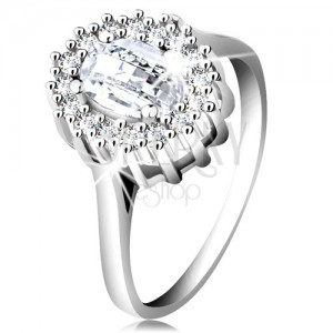 Engagement ring made of 925 silver, oval cut zircon, border composed of tiny zircons