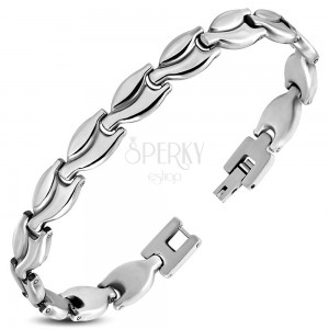 Bracelet made of 316L steel, joined shiny leaves with notches, silver colour