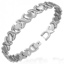 Steel bracelet in silver colour - matt hearts and shiny X links