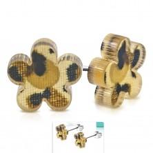 Earrings made of 316L steel, acrylic flower with brown leopard spots