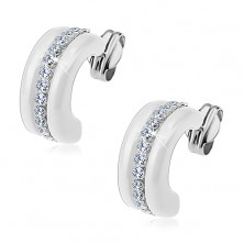 Earrings made of white 375 gold - white ceramic semicircles, clear zircon line