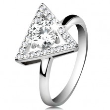 925 silver ring - zircon triangle contour, round clear zircon in the middle