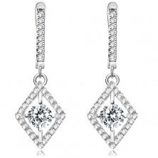 925 silver earrings, round clear zircon in rhombus contour